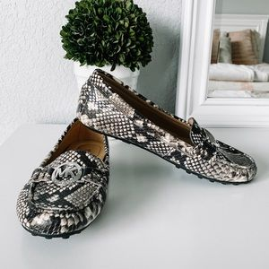 Michael Kors Leather Snake Print Loafers Size 6.5